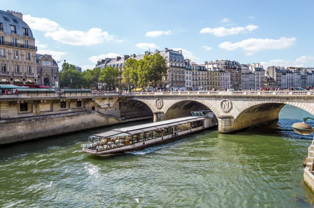 Tourist cruise luxury boat in River Seine Paris France