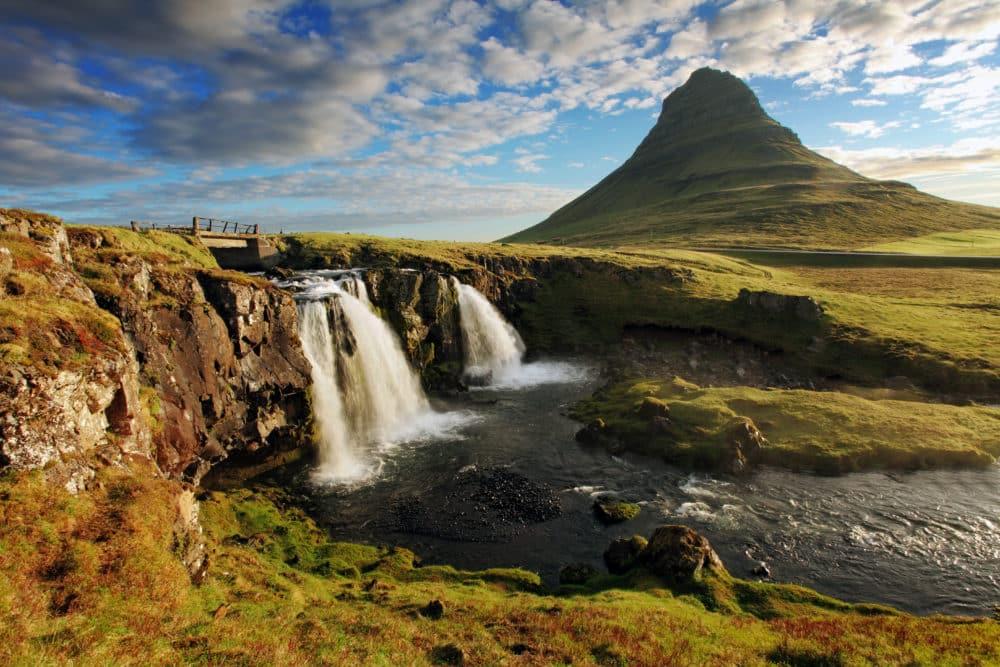 Iceland Landscape spring panorama at sunrise - kirkjufell