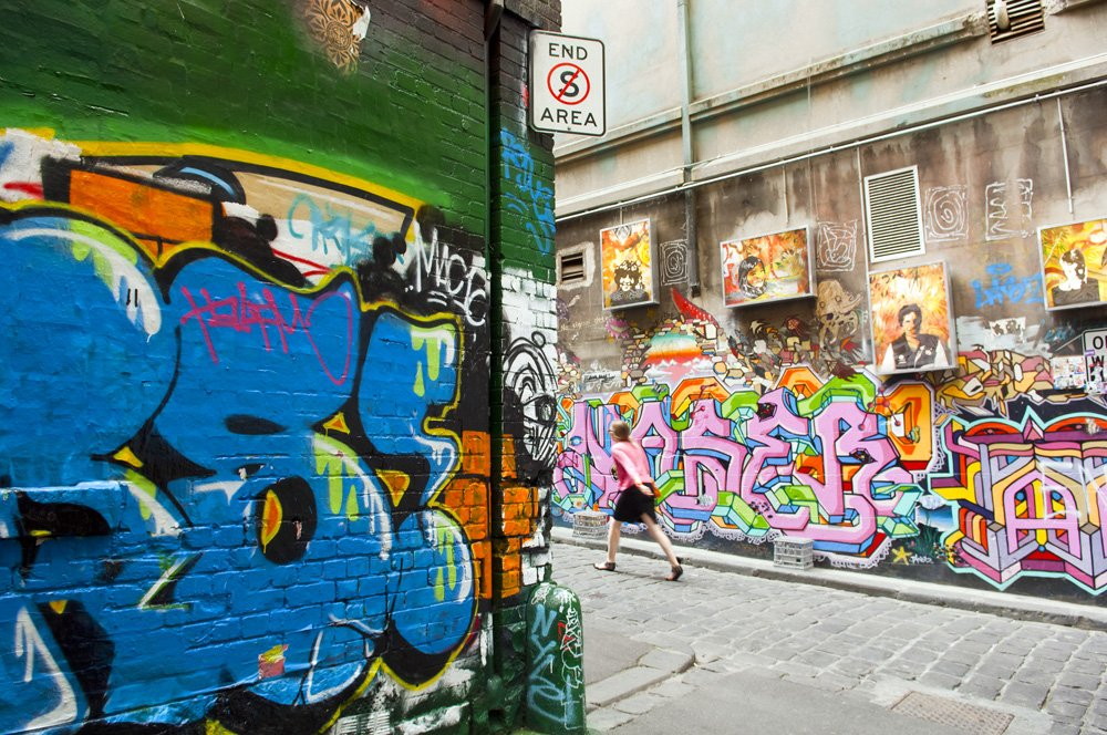 Hosier Lane in Melbourne, Australia, is home to legal graffiti