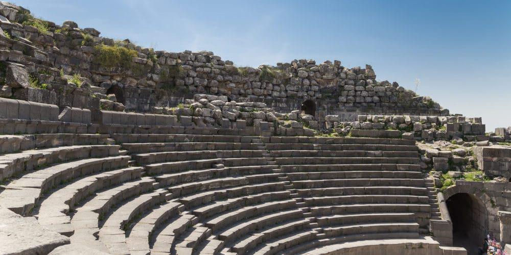 West Theatre of Umm Qais (Umm Qays)-- is a town in northern Jordan near the site of the ancient town of Gadara. Umm Qais is one of Jordan's most unique Greco Roman Decapolis sites