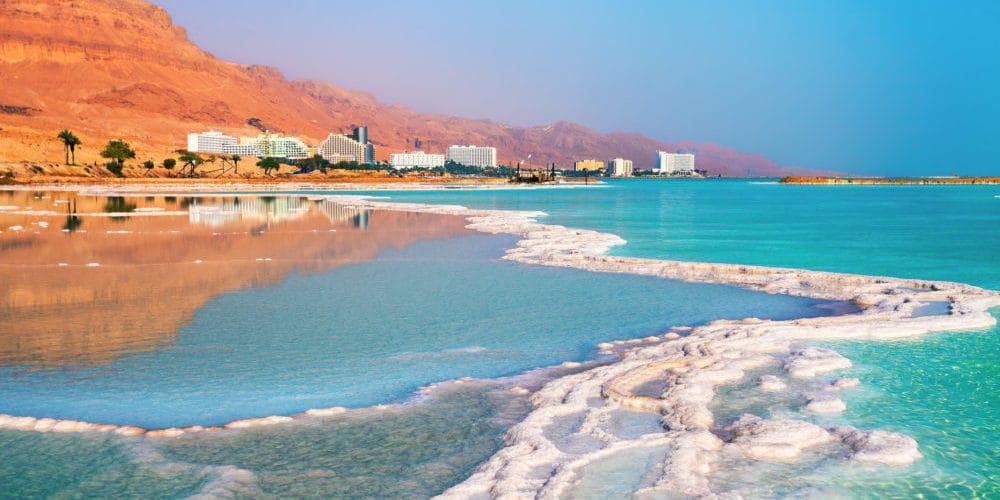 Dead sea salt shore. Ein Bokek, Israel