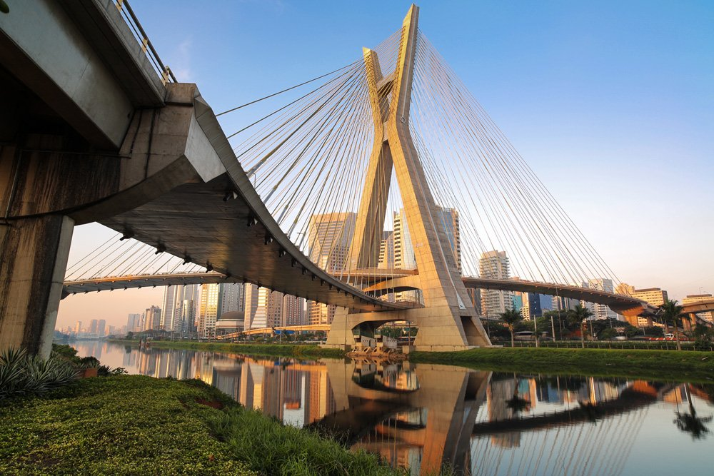 The Octavio Frias de Oliveira bridge is a cable-stayed bridge in São Paulo, Brazil over the Pinheiros River, opened in May 2008. The bridge is 138 metres (453 ft) tall, and connects Marginal Pinheiros to Jornalista Roberto Marinho Avenue in the south area of the city. It is named after Octavio Frias de Oliveira.