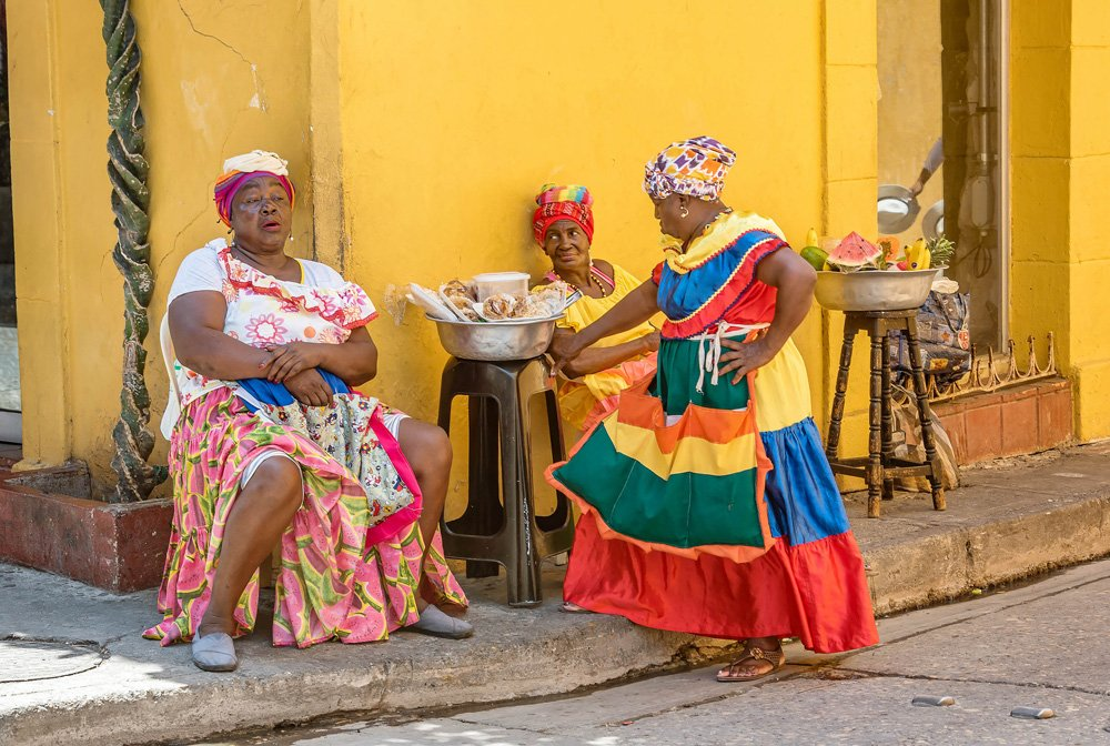 Fruit street vendors in Cartagena, Colombia