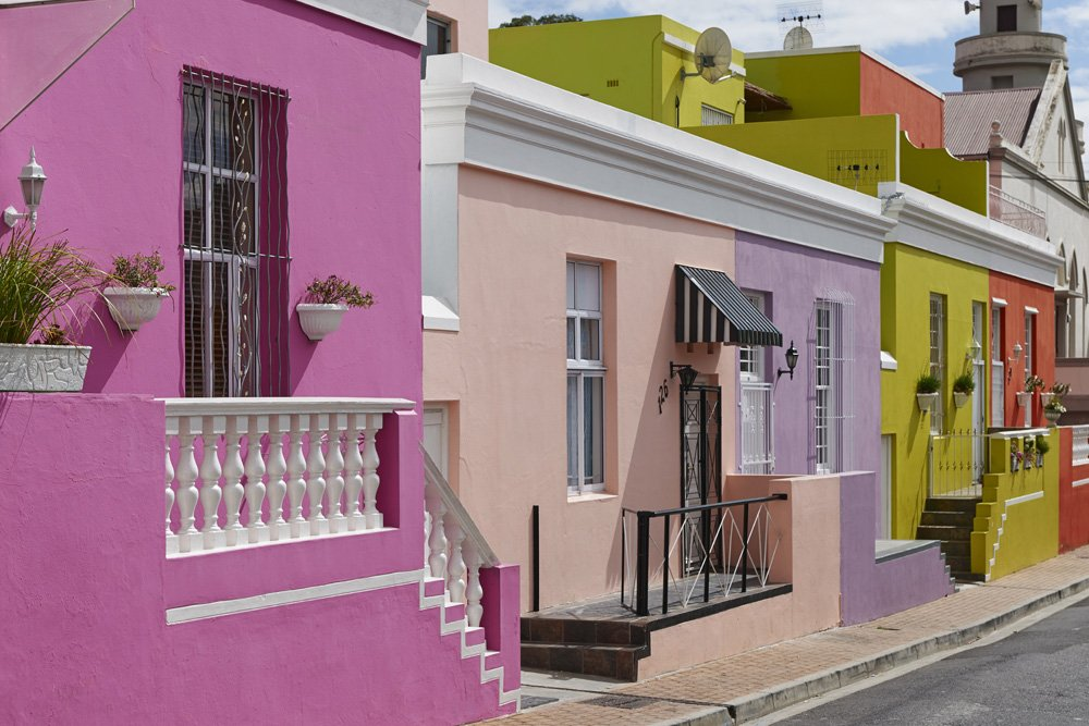Farbenpraechtige Gebaeude im Viertel Bo-Kaap, Malaien Viertel, Kapstadt, Westkap, Suedafrika |Colourful Buildings in Bo-Kaap, Malay Quarter, Cape Town, Western Cape, South Africa|